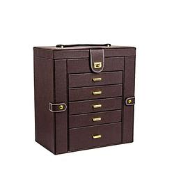 Vue de 3/4 de la grande boîte à bijoux en cuir marron à 5 tiroirs (fermée)