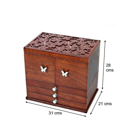 Dimensions en cms de la grande boîte à bijoux en bois à compartiments