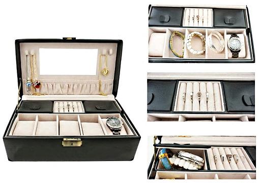 Collage de 4 photos présentant des détails intérieur de la boîte à bijoux en cuir pour montres