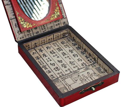 Vue de l'intérieur du compartiment de la boîte à bijoux originale simple