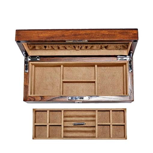 Vue de face de la boîte en bois brut avec son plateau amovible