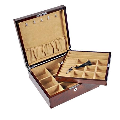 Vue de la boîte ouverte, du compartiment principal et du plateau amovible