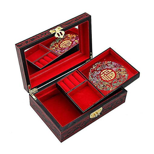 Boîte à bijoux originale rouge Boîte rouge ouverte présentant miroir et plateau amovible