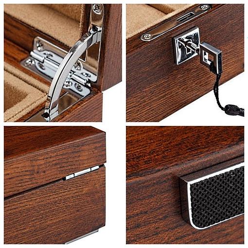 Collage de 4 photos de détails (charnière, serrure, dessous...)