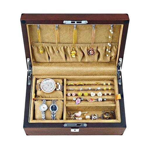 Vue de face de la boîte en bois de luxe (ouverte)