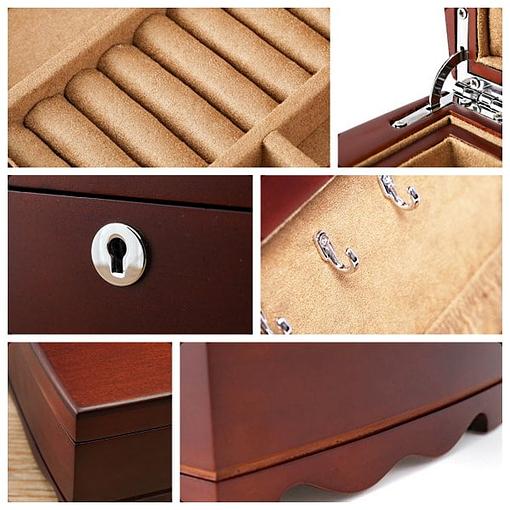 Collage de 6 photos détaillant la boîte à bijoux en bois vintage