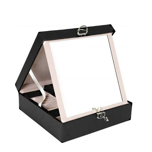 Vue de 3/4 de la boîte à bijoux simili cuir avec miroir déplié