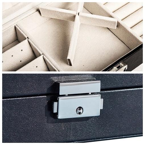 Collage de 2 photos détaillant l'intérieur (sans bijoux) et le fermoir de la boîte
