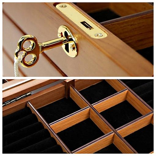 2 photos présentant serrure et compartiments d'un tiroir