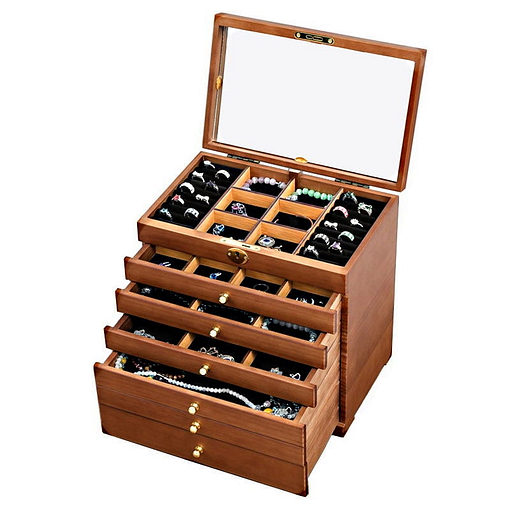 Vue de 3/4 de la grande boîte à bijoux à 6 tiroirs (tiroirs supérieurs ouverts)