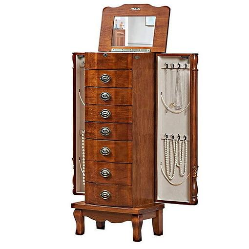 Vue de 3/4 de la boîte à 7 tiroirs (couvercle et portes latérales ouverts)