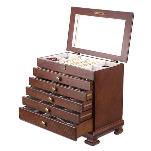 Vue de 3/4 de la grande boîte à bijoux ancienne, ouverte