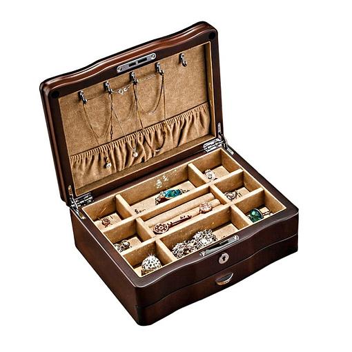 Vue de 3/4 de la boîte à bijoux de luxe à tiroir (ouverte, avec bijoux)