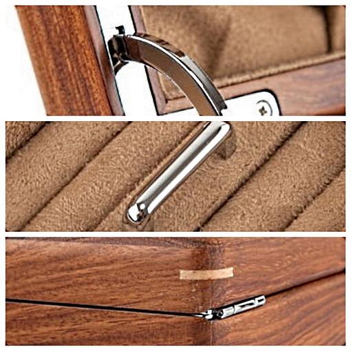 Collage de 3 photos des détails de la boîte à bijoux en bois à compartiment (charnières, porte-bagues...)