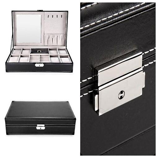 Collage de 3 photos détaillant la boîte à bijoux en cuir 8 montres et miroir (vues de face et fermoir)