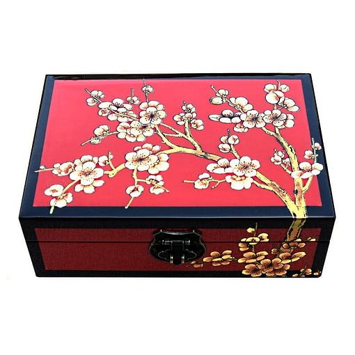 Dessus de la boîte représentant les fleurs blanches d'un cerisier sur fond rouge avec arêtes noires