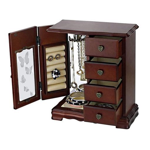 Vue de 3/4 de la grande boîte à bijoux avec vitre et tiroirs (ouverte)