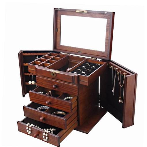 Vue de 3/4 de la grande boîte à bijoux en bois précieux (ouverte, avec bijoux)