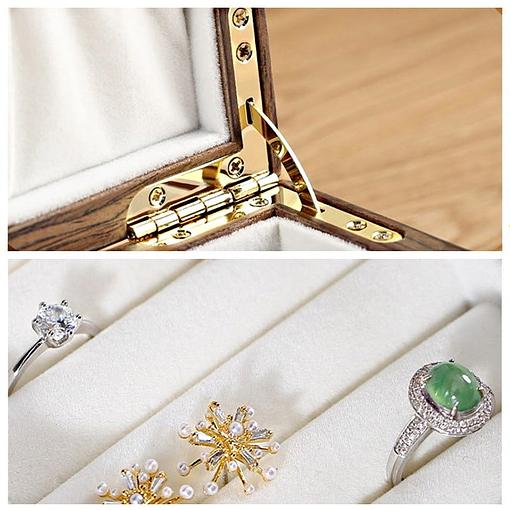 Collage de 2 photos de la boîte à bijoux bois bagues et montres (charnière et porte-bagues)