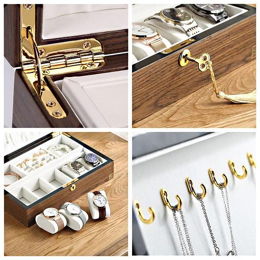 Collage de photos de la boîte à bijoux bois compartiment et montres (détails intérieurs)
