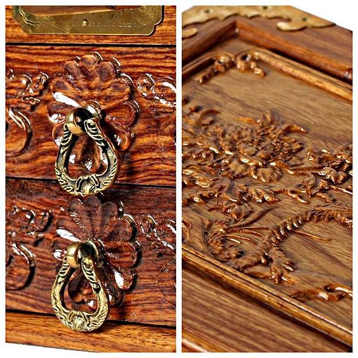 Détails de la boîte à bijoux en bois massif (poignées et couvercle sculpté)