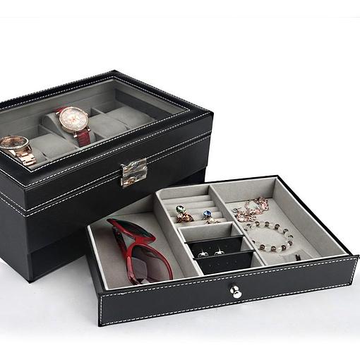 Vue de la boîte à bijoux en cuir 'joyaux et montres' avec bijoux et tiroir inférieur sorti
