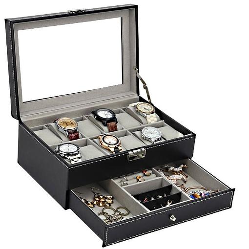 Vue de 3/4 de la boîte à bijoux en cuir 'joyaux et montres', ouverte avec bijoux