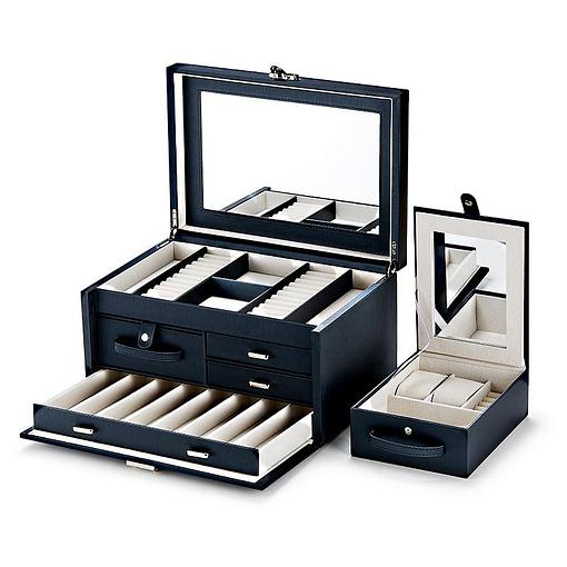 Vue de 3/4 de la boîte à bijoux en cuir modulable (ouverte avec la boîte additionnelle)