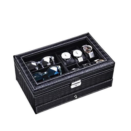 Vue de 3/4 de la boîte à bijoux en cuir pour lunettes et montres (fermée)