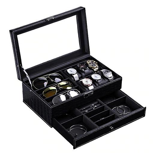 Vue de 3/4 de la boîte à bijoux en cuir pour lunettes et montres (ouverte)