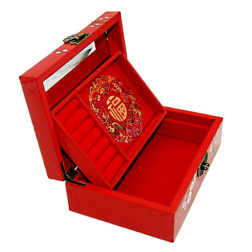 Vue de face de la boîte à bijoux originale 'cerisier' rouge (ouverte)