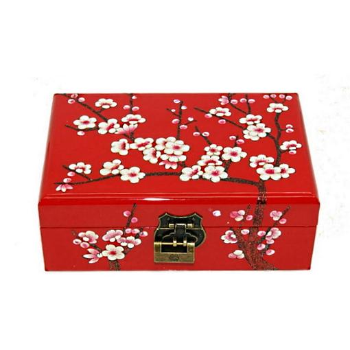 Vue de face de la boîte à bijoux originale 'cerisier' rouge (fermée)