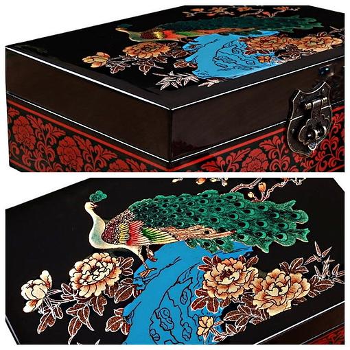 Détails de la boîte à bijoux originale 'Paon' (photos du couvercle)