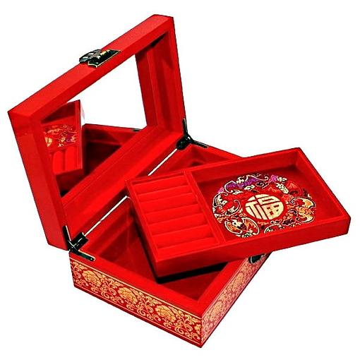 Vue de 3/4 de la boîte à bijoux originale rouge nénuphar (ouverte)