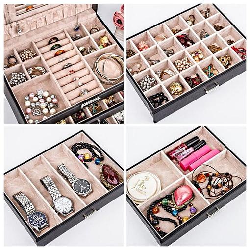 Collage de 4 photos présentant des détails de la boîte à bijoux en cuir à 3 tiroirs (compartiments)