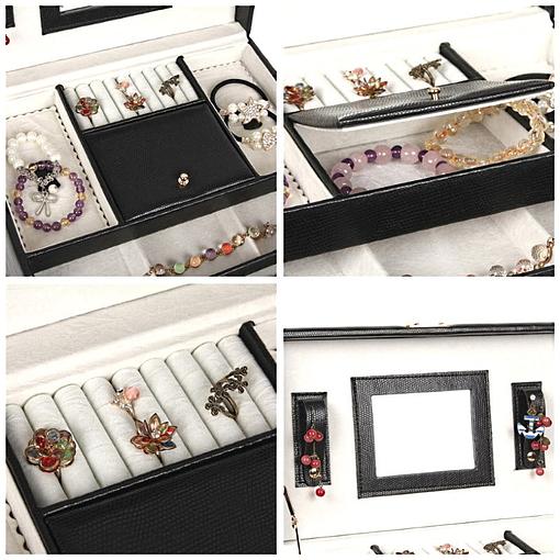 Collage de 4 photos présentant des détails de la boîte à bijoux en cuir à 4 tiroirs (couvercle et plateau supérieur)