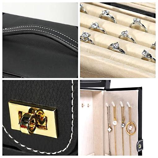Collage de 4 photos présentant des détails de la boîte à bijoux en cuir à 5 tiroirs (détails)