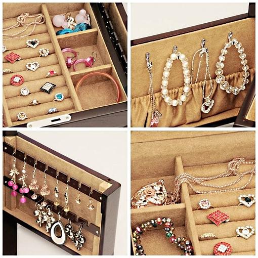 Collage de 4 photos présentant des détails de la grande boîte à bijoux en bois naturel (compartiments)