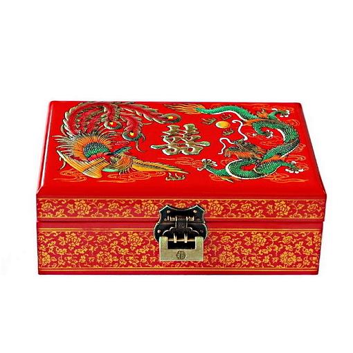 Vue de 3/4 de la boîte à bijoux originale 'Dragon et Phénix' (ouverte)