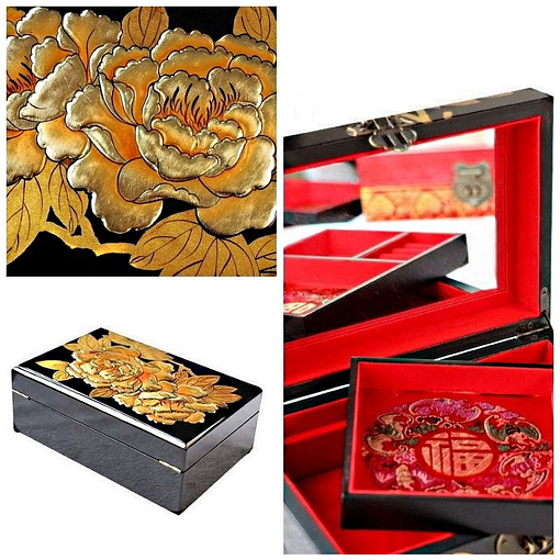 collage de 3 photos des détails de la boîte à bijoux originale 'or & jais' (motifs, compartiments et arrière)