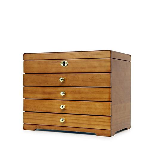 Vue de 3/4 de la boîte à bijoux à 4 tiroirs, fermée