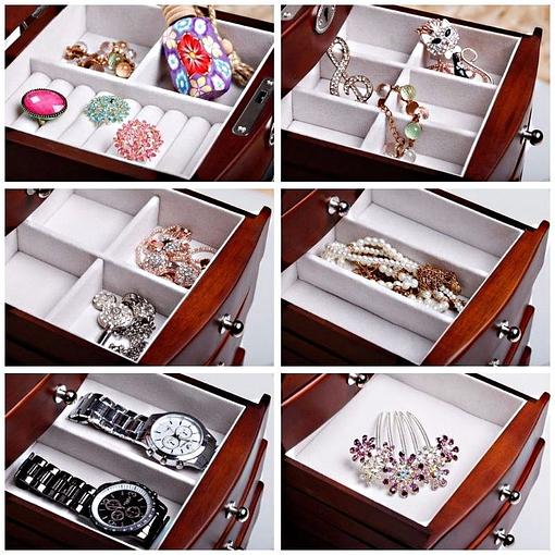 Collage de 6 photos de détails de la grande boîte à bijoux tiroirs et portes (compartiments)