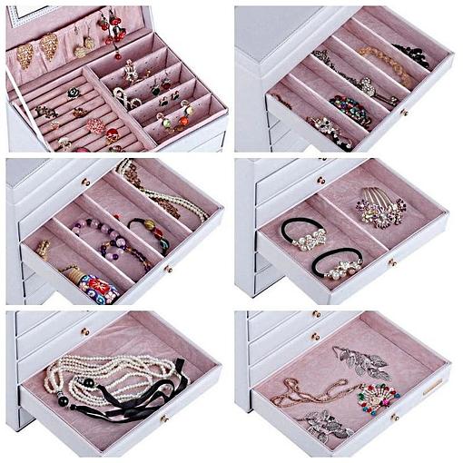 Détail des compartiments de la boîte à bijoux en cuir à 5 tiroirs blanc