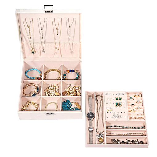 Vue de 3/4 de la boîte à bijoux en cuir blanc moderne (ouverte, avec plateau déposé)