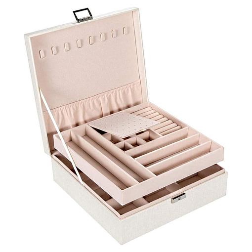 Vue de 3/4 de la boîte à bijoux en cuir blanc moderne (ouverte)