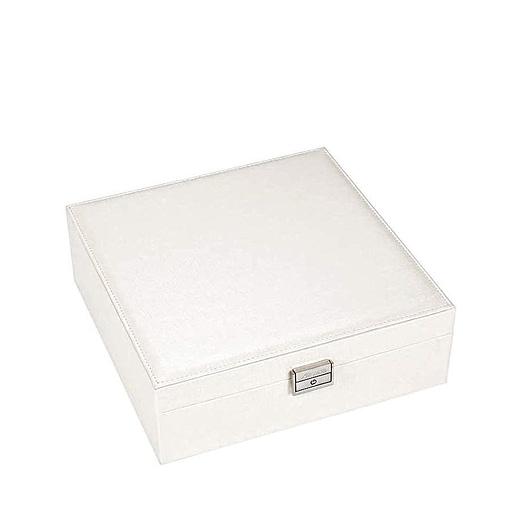 Vue de 3/4 de la boîte à bijoux en cuir blanc moderne (fermée)