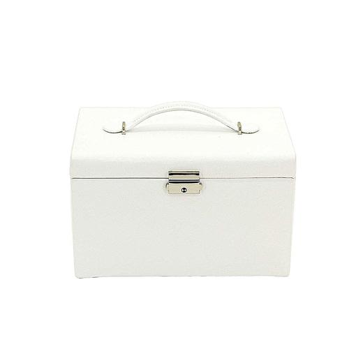 Vue de face de la boîte à bijoux en cuir blanc 3 tiroirs (fermée)