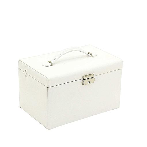 Vue de 3/4 de la boîte à bijoux en cuir blanc 3 tiroirs (fermée)