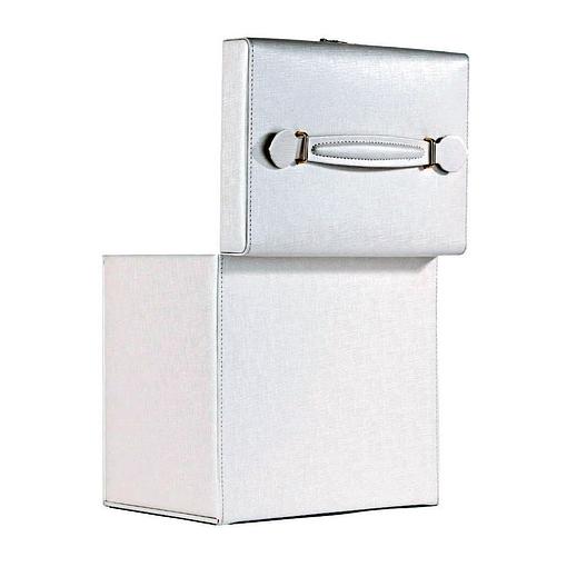 Vue de 3/4 de la boîte à bijoux cuir blanc 6 tiroirs porte-bagues (arrière)