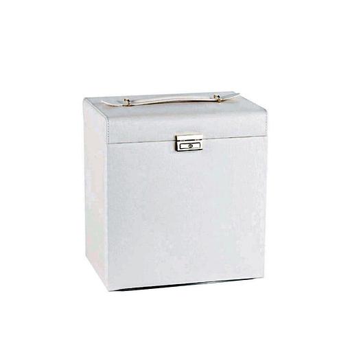 Vue de 3/4 de la boîte à bijoux cuir blanc 6 tiroirs porte-bagues (fermée)